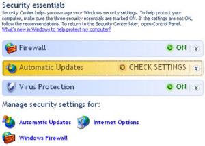 Windows XP security center